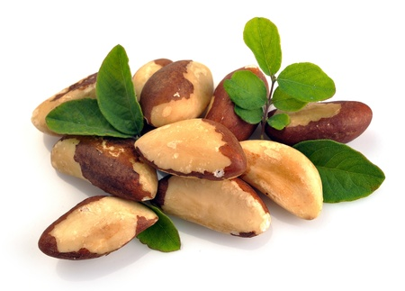 selenium: Brazil nuts close-up isolated on white background