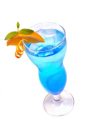 blue cocktail with ice and orange isolated Stock Photo - 13610433