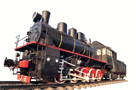 black train: Vieja locomotora aislada en un blanco