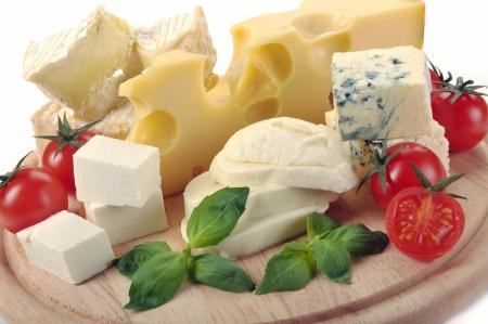 conjunto de queso en una tabla de madera