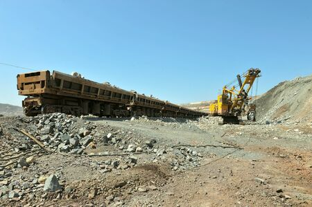 industrially: Loading of iron ore on the train in career