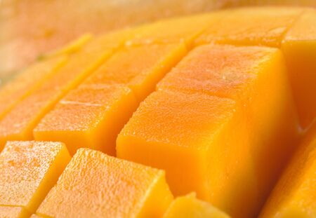 cubed: Fresh and colorful mango cut and cubed in its skin