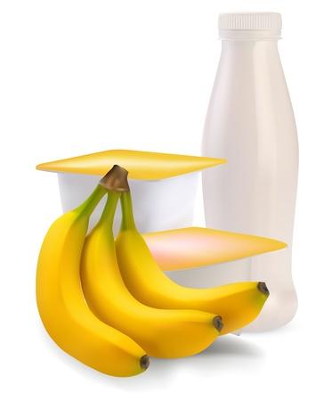 yogurt in separate boxes and banana