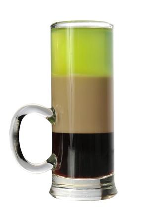 ajenjo: B-52 Shot. Bebida corto para servir en la noche. Ingredientes: 14 medida de licor de caf�, 14 de crema irlandesa, 14 medida de absenta Foto de archivo