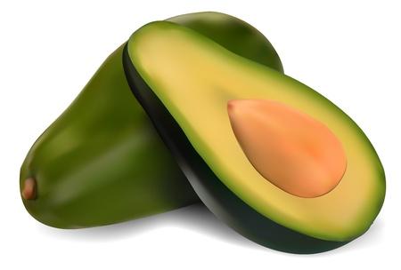 avocado: Avocado maturo isolato su bianco