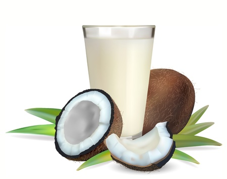 coconuts and a glass of coconut milk