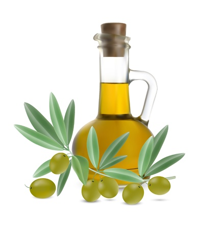 bottle of olive oil with olives on white background