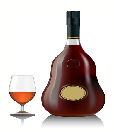 cognac: Snifter glass of cognac and bottle on white background