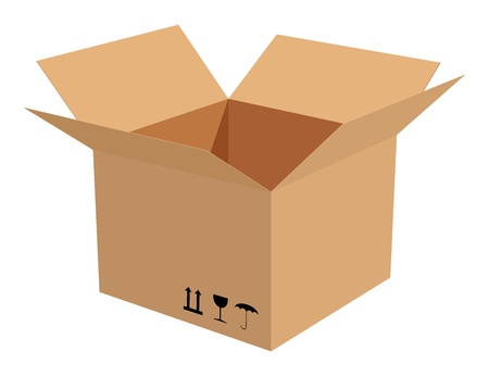 Corrugated cardboard box isolated on white background. Vector