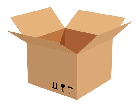 corrugated box: Corrugated cardboard box isolated on white background. Illustration