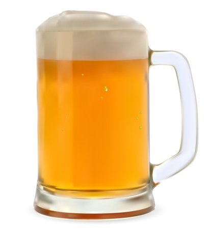 cerveza: Taza de cerveza sobre un fondo blanco Vectores
