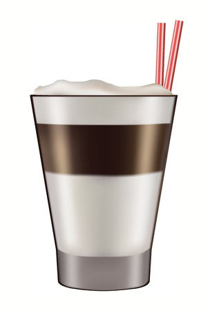 Mug of layered caffe latte  Vector