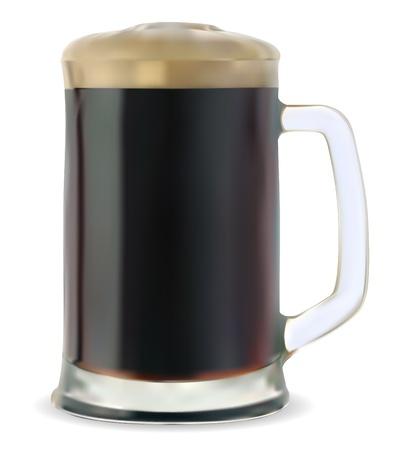 dark lager: Mug of dark beer on a white background vector