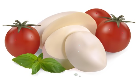 cherry tomatoes: mozzarella cherry tomatoes and basil on a white background Illustration