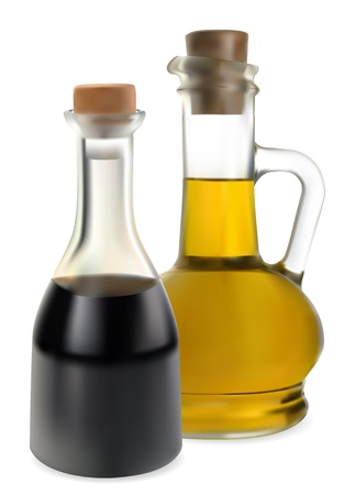 balsamic vinegar and olive oil in a glass Vector