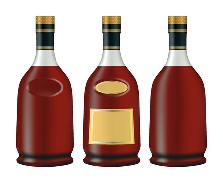 cognac: bottles of cognac (brandy). Isolated on white background