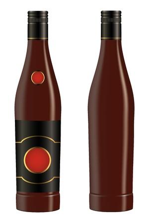 bourbon whisky: Cuban rum bottle on white background