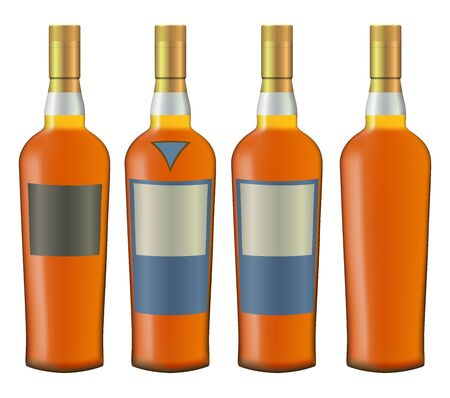 scotch whisky: set of whiskey bottles realistic vector
