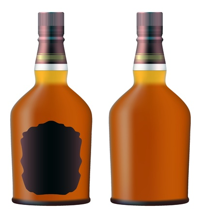 liquor: set of whiskey bottles realistic  Illustration