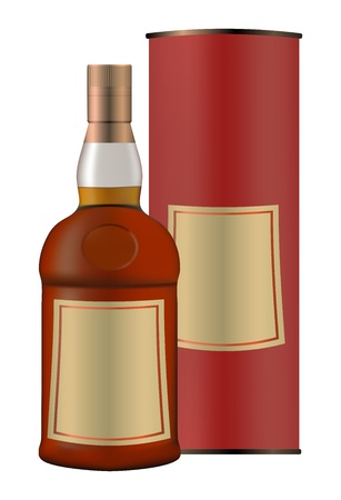 scotch: Butelka whisky i pakowania pudełko Ilustracja
