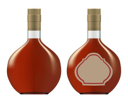bottles of cognac (brandy). Isolated on white background  Vector