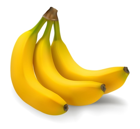 Ripe bananas on a white background