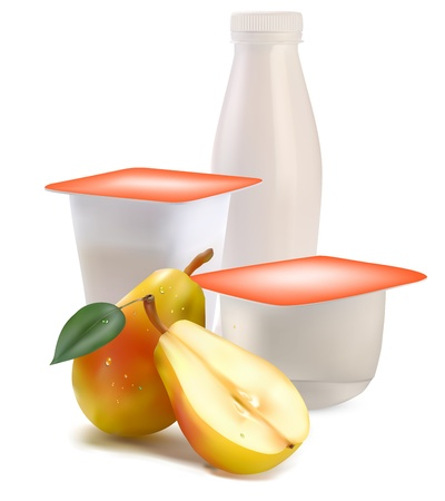 yogurt in separate boxes and pear Illustration