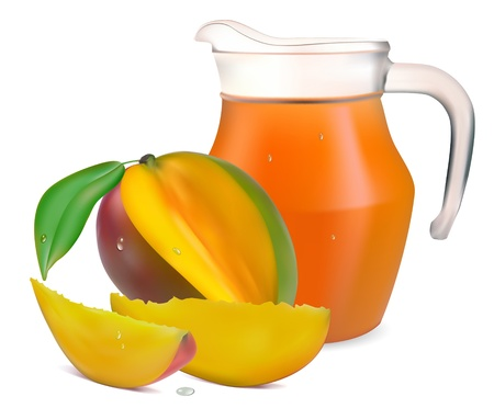 mango juice in a jug and a glass of fruit  Vector