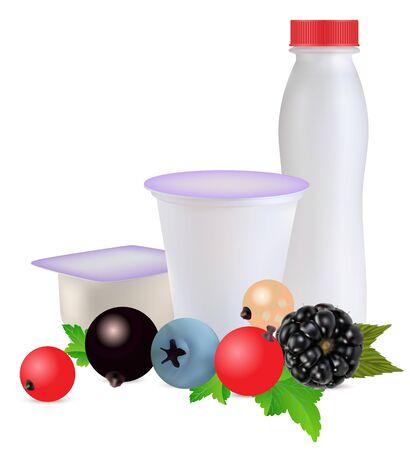 yoghurt in separate boxes and berries Иллюстрация