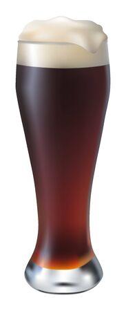 dark lager: misted glass of dark beer on a white background Illustration