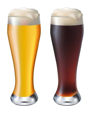 misted glass of dark  and white beer on a white background Vector