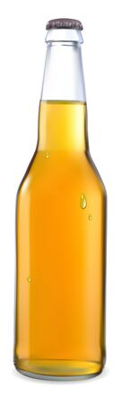 transparent bottle with a light beer with a white background Illustration