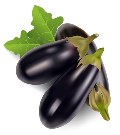 aubergine with leaves on a white background