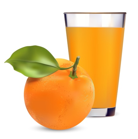 oranges and orange juice on white background