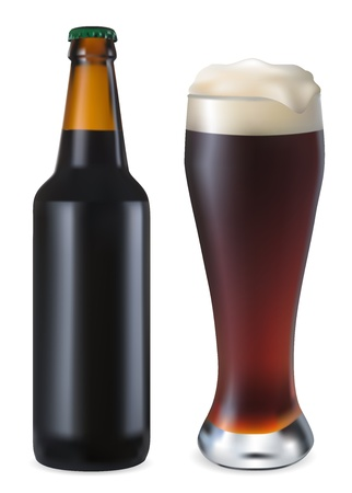 vaso y una botella de cerveza negra sobre un fondo blanco