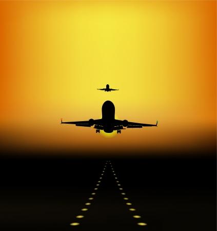 takeoff: atterraggio degli aeromobili al tramonto Vettoriali