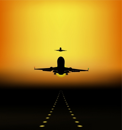 landing of aircraft at sunset Vector