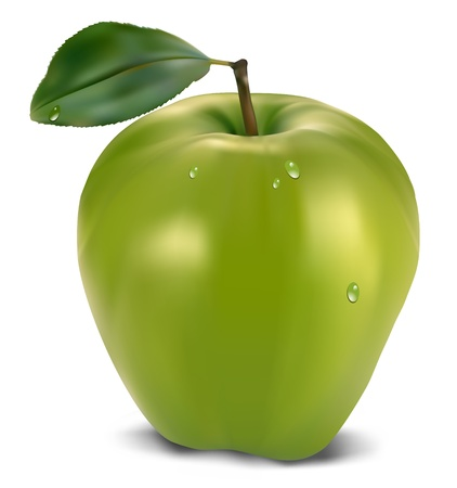 ripened: fresh green apple with green leaf