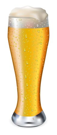 beerglass: Beer in glass with drops on white background