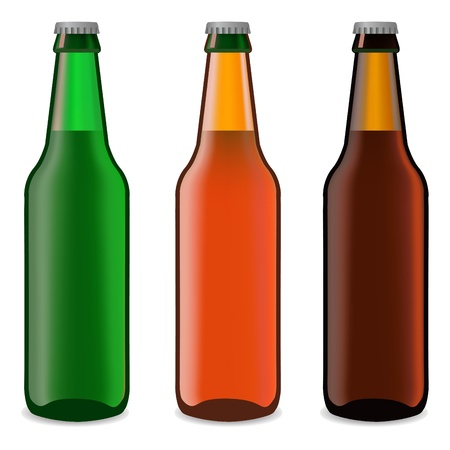 botellas de cerveza en un fondo blanco