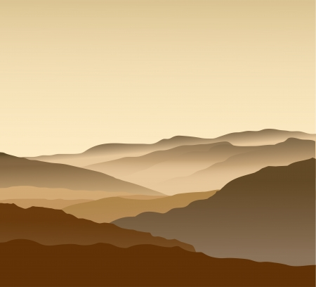 Beige mountains in a fog. Seamless Vector