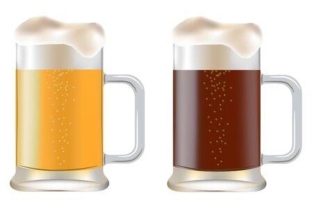 dark lager: two mug of beer on a white background  Illustration