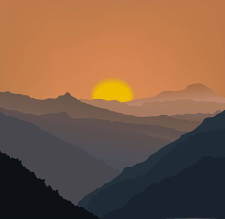 Beige mountains in a fog.  Vector