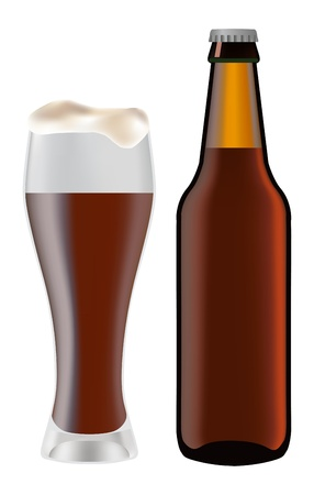 Beer in glass and dark bottle of beer on a white background Vector