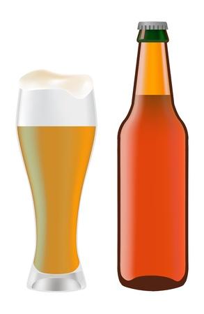 dark lager: Beer in glass and dark bottle of beer on a white background Illustration