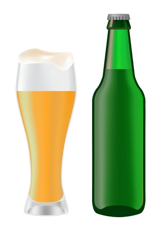 Beer in glass and green bottle of beer on a white background Vector
