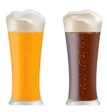 two glasses with dark and light beer Stock Vector - 13783175