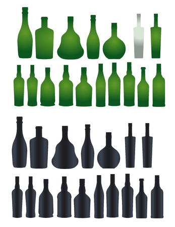 Vector collection of different silhouette bottles 矢量图像