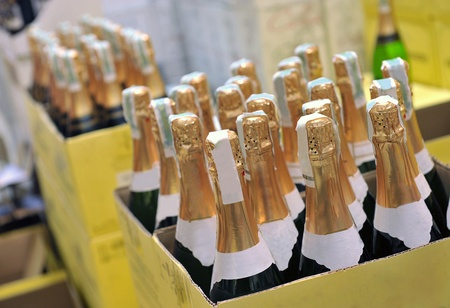 bottle of champagne wines in the store 免版税图像