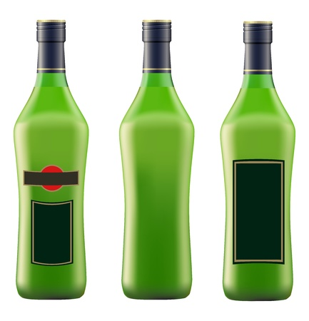 vermouth: green bottle of vermouth martini on white background vector Illustration